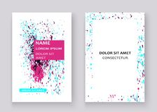 Neon colorful explosion paint splatter artistic covers design. Decorative bright texture splash spray on white backgrounds. Trendy template vector for Cover vector illustration