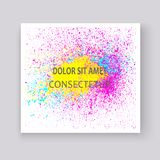 Neon colorful explosion paint splatter artistic covers design. Decorative bright texture splash spray on white backgrounds. Trendy template vector for Cover stock illustration