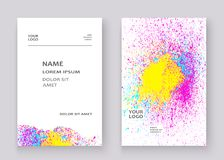 Neon colorful explosion paint splatter artistic covers design. Decorative bright texture splash spray on white backgrounds. Trendy template vector for Cover royalty free illustration