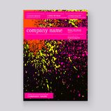 Neon colorful explosion paint splatter artistic covers design. Decorative bright texture splash spray on black backgrounds. Trendy template vector for Cover royalty free illustration