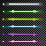 Neon colorful lamps in horizontal position on transparent background. Vector white, green, yellow, blue and purple lights on dark cover. Abstract fluorescent Stock Photos