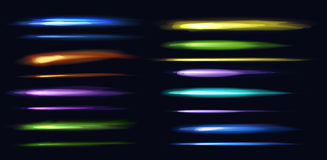 Neon Colorful Lights In Horizontal Position On Dark Background. Stock Photography