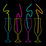 Neon colors on a black background Cocktail Party vector illustration. Stock Photos