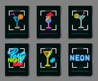 Neon colors on a black background Cocktail Party vector illustration. Various cocktail glasses. And Cocktail Party text. Invitation vector poster design Royalty Free Stock Photos