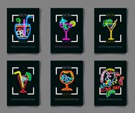 Neon colors on a black background Cocktail Party vector illustration. Various cocktail glasses. And Cocktail Party text. Invitation vector poster design Stock Photos