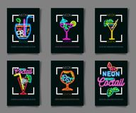 Neon colors on a black background Cocktail Party vector illustration. Various cocktail glasses. And Cocktail Party text. Invitation vector poster design Stock Photo