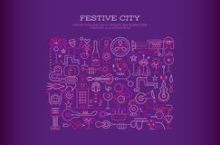 Festive City vector illustration. Neon colors on a dark violet background Festive City vector illustration. People took to the streets to celebrate, drink Stock Photography