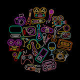 Neon Colors Entertainment Icons Royalty Free Stock Images