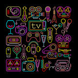 Neon Colors Entertainment Icons Stock Image