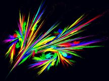 Neon Colors Wings Abstract. Neon light wings colored abstract, horizontal, over black background Stock Images