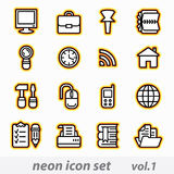 Neon computer icon set. Sixteen neon computer icons for web Stock Photo