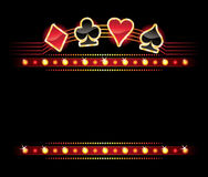 Neon con i simboli della scheda Immagini Stock