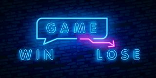 Neon Concept of winner and loser Vector Illustration. Glowing neon sign, bright glowing vector illustration