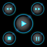 Neon control buttons blue Stock Photos