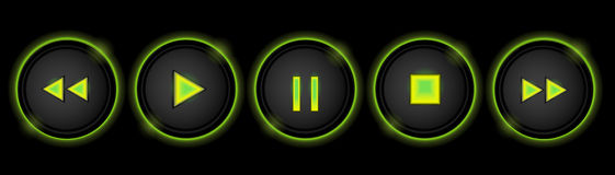 Neon control buttons Royalty Free Stock Photography