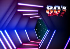 Neon corridor in space with 80s revival New Retro Wave style. Neon corridor in space with 80s New Retro Wave style Royalty Free Stock Photos