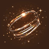 Neon crossed circles light lines effect. Magic fire rings. Glow circles on the transparent background Royalty Free Stock Photography