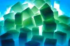 Neon cubes. Sugar cubes in neon light Royalty Free Stock Image