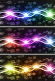 Neon Cubic Horizon. Abstract illustration of neon cubes horizon perspective view Royalty Free Illustration