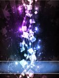 Neon Cubic Horizon. Abstract illustration of neon cubes Stock Illustration