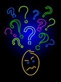 Neon curiosity. A face showing curiosity rendered in neon Royalty Free Stock Images