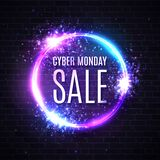 Neon Cyber Monday sale. Discount card with glowing stock illustration