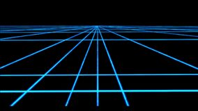 Neon cyberpunk Perspective grid with transparency 4k loop. Animated Background of blue lines vector illustration