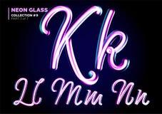 Neon 3D d'ardore composto Insieme della fonte delle lettere di vetro Rosa lucido illustrazione vettoriale