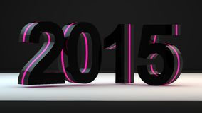 Neon 2015 3d scene. Get the 2015 year in neon design and 3d scene with reflection and good quality stock illustration