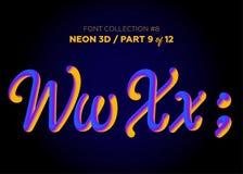 Neon 3D som är typsatt med rundade former Stilsortsuppsättning av målade bokstäver Fotografering för Bildbyråer