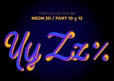 Neon 3D som är typsatt med rundade former Stilsortsuppsättning av målade bokstäver Royaltyfri Bild