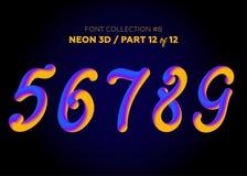 Neon 3D som är typsatt med rundade former Stilsortsuppsättning av målade bokstäver Arkivbild