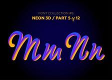 Neon 3D som är typsatt med rundade former Stilsortsuppsättning av målade bokstäver Royaltyfri Foto