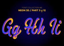 Neon 3D som är typsatt med rundade former Stilsortsuppsättning av målade bokstäver Royaltyfria Bilder