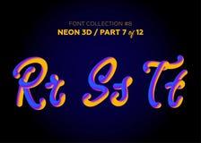 Neon 3D som är typsatt med rundade former Stilsortsuppsättning av målade bokstäver Royaltyfri Fotografi