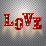 Neon 3d word Love with lights. Stock Photos