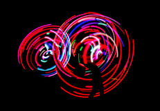 Neon dance lights. On black background Stock Photos