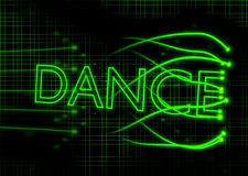 Neon dance sign with abstract background. Green neon dance sign with abstract background Royalty Free Stock Images
