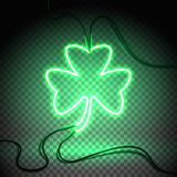 Neon dark green clover. Green neon sign, Shamrock Clover on transparent background. Design element for St Patrick`s Day. Ready for your design, greeting card stock illustration
