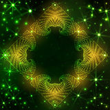 Neon decorative frame on dark green gradient background with yellow and green glittering stars and lights Stock Images