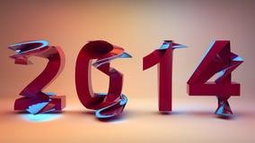 Neon del buon anno 2014 Fotografie Stock