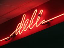 Neon Deli Sign Stock Photo
