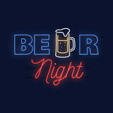 Neon design for bar, pub and restaurant business. Royalty Free Stock Photo