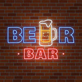 Neon design for bar, pub and restaurant business. Stock Photo