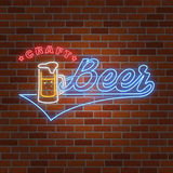 Neon design for bar, pub and restaurant business. Stock Photos