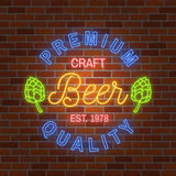 Neon design for bar, pub and restaurant business. Stock Image