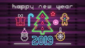 Neon Design Happy New Year Card. Modern Design of Neon Sign with with Shine Christmas Characters, Objects and Emblems. Retro Bright Signboard, Light Banner for vector illustration