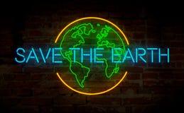 Neon di simbolo di ecologia fotografie stock