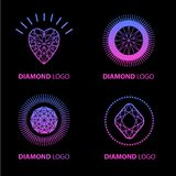 Neon diamond vector logo set Royalty Free Stock Photography