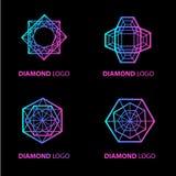 Neon diamond vector logo set Royalty Free Stock Photos